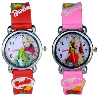 Barbie Mulricolour Analog Watch Combo of- 2 for Girls