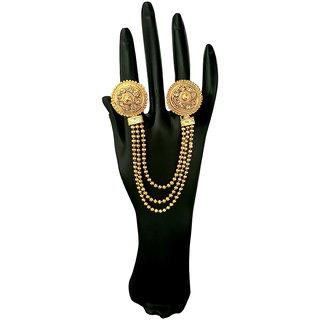JewelMaze Brown Austrian Stone Chain Double Finger Ring-AAA4108