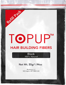 Topup Hair Building Fiber Refill Pack (Black 55gm) Hair Fiber For Hair Loss and Hair Damage