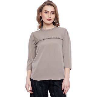 Fabulous Me Women's Dark Grey Color Solid Collar Frill Top