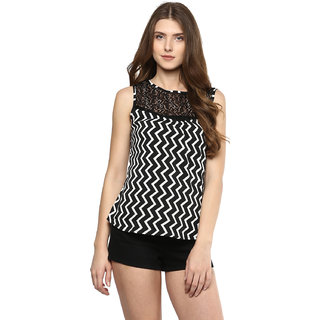 D'amor Printed Black and White Net Top For Women's