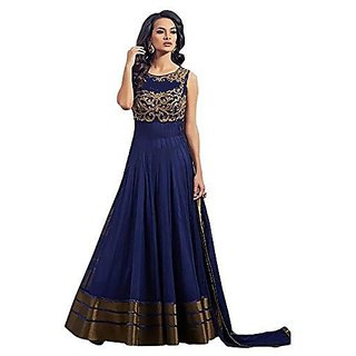 Omstar Fashion Designer Blue color Net with Santoon Inner Floor-touch Semi-Stitched Gown