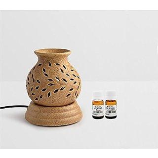 Brahmz Aroma Oil Diffuser - Ceramic - Ancient Pot - Mustard - Rose / Lavender