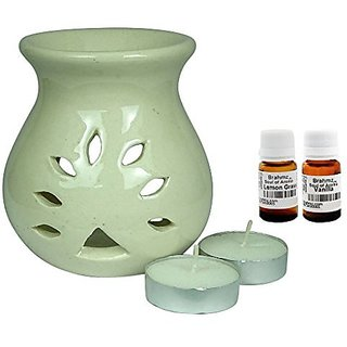 Brahmz Aroma Oil Diffuser - Ceramic - Regular - White - Lemon Grass / Vanilla