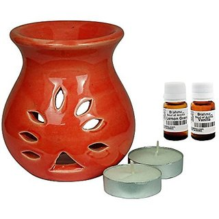 Brahmz Aroma Oil Diffuser - Ceramic - Regular - Red - Lemon Grass / Vanilla
