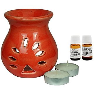 Brahmz Aroma Oil Diffuser - Ceramic - Regular - Red - Lavender / Lemon Grass