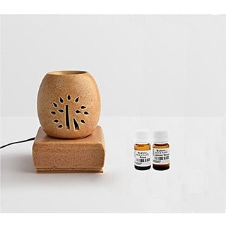Brahmz Aroma Oil Diffuser - Ceramic - Electric Oval - Mustard - Rose / Lemon Grass