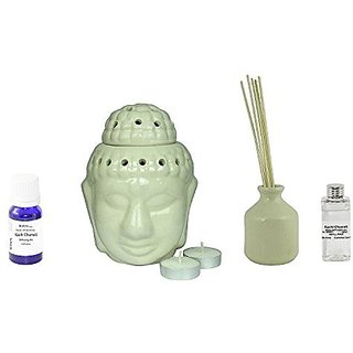 Brahmz Diffuser Combo - Buddha Candle Diffuser with 2 Candles & 10gm JASMINE & Reed Diffuser with 100ml JASMINE Reed oil
