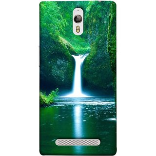 FUSON Designer Back Case Cover for Oppo Find 7 :: Oppo Find 7 QHD :: Oppo Find 7a :: Oppo Find 7 FullHD :: Oppo Find 7 FHD (Mountains & Waterfalls Images Green Lake Desktop)