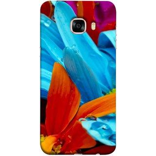 FUSON Designer Back Case Cover for Samsung Galaxy C5 SM-C5000 (Blue Prange Pink Multicolor Pink Flowers Patterns)