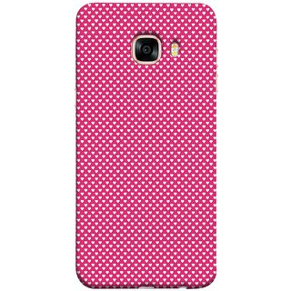 FUSON Designer Back Case Cover for Samsung Galaxy C5 SM-C5000 (Valentine Pink Metallic Hearts Cool Peace Sign Symbol)