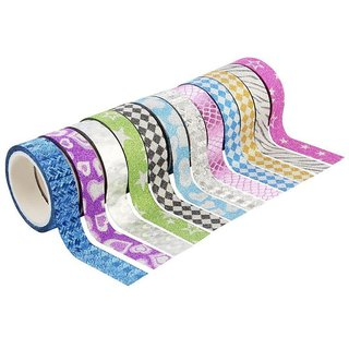 Colourful 12 Rolls of Decorative Adhesive Glitter Tape (Assorted Designs)