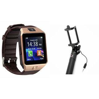 Clairbell DZ09 Smart Watch and Selfie Stick for SAMSUNG GALAXY A3(DZ09 Smart Watch With 4G Sim Card, Memory Card| Selfie Stick)