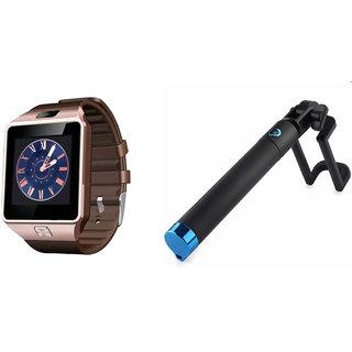Clairbell DZ09 Smart Watch and Selfie Stick for SAMSUNG GALAXY A5(DZ09 Smart Watch With 4G Sim Card, Memory Card| Selfie Stick)