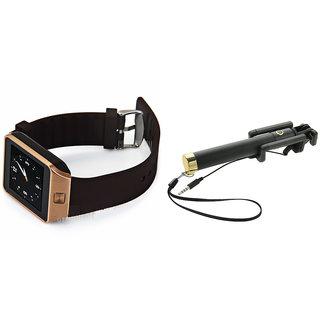 Clairbell DZ09 Smart Watch and Selfie Stick for SAMSUNG GALAXY A7(DZ09 Smart Watch With 4G Sim Card, Memory Card| Selfie Stick)