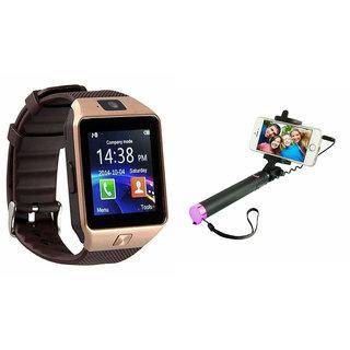 Clairbell DZ09 Smart Watch and Selfie Stick for SAMSUNG W 2016(DZ09 Smart Watch With 4G Sim Card, Memory Card| Selfie Stick)