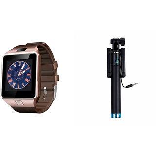 Clairbell DZ09 Smart Watch and Selfie Stick for SAMSUNG GALAXY J3 (DZ09 Smart Watch With 4G Sim Card, Memory Card| Selfie Stick)