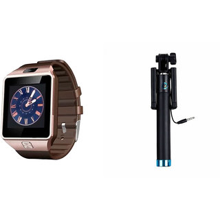 Clairbell DZ09 Smart Watch and Selfie Stick for MICROMAX CANVAS 2 COLOURS(DZ09 Smart Watch With 4G Sim Card, Memory Card| Selfie Stick)