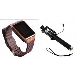 Clairbell DZ09 Smart Watch and Selfie Stick for MICROMAX BOLT Q324(DZ09 Smart Watch With 4G Sim Card, Memory Card| Selfie Stick)