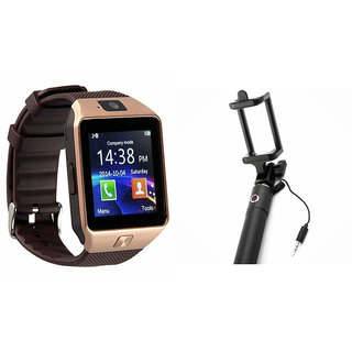 Clairbell DZ09 Smart Watch and Selfie Stick for MICROMAX CANVAS BLAZE HD(DZ09 Smart Watch With 4G Sim Card, Memory Card  Selfie Stick)