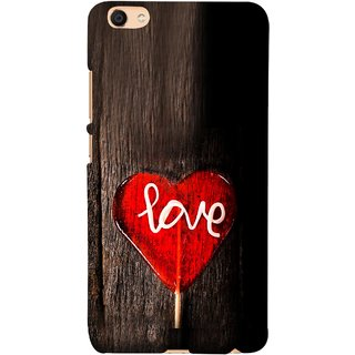 FUSON Designer Back Case Cover For VIVO Y66 (Big Tree Dark Red Candy Heart Shape)