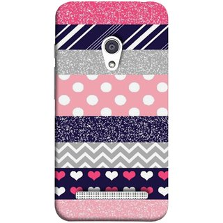 FUSON Designer Back Case Cover For Asus Zenfone 6 A600CG (Colourful Patterns Hearts Lines Checks Dark Red )