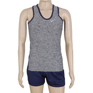 RetailWorld Atheletic Wear Kit Grey/Blue (Sando + Shorts)