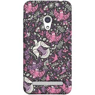 FUSON Designer Back Case Cover For Asus Zenfone 6 A600CG (Pink White Beige Colour Leaves Flowers Walldesign Gift )