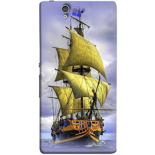 FUSON Designer Back Case Cover For Sony Xperia Z :: Sony Xperia ZC6603 :: Sony Xperia Z L36h C6602 :: Sony Xperia Z LTE, Sony Xperia Z HSPA+ (Big Ship In Ocean Vintage Tall High)