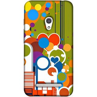 FUSON Designer Back Case Cover For Asus Zenfone Go ZC500TG (5 Inches) (Multi Designs Squares Circles Hearts Mehandi)
