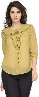 Tunic Nation Yellow Solid Frilled Top