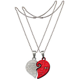 Men Style Valentines Gift for Her And His Romantic CoupleLovers I Love YOU Forever crystal Half Heart-Shaped Puzzle for Lovers Jewelry Red and Silver Zinc Alloy Heart Pendant For Men And Women