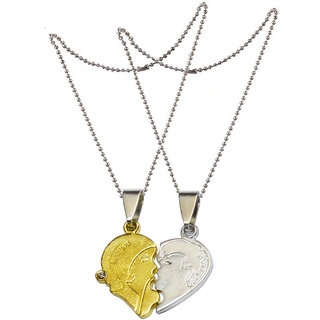 Men Style Romantic Couple Kissing I LOVE YOU engraved Necklace Heart Puzzle for Valentine's Day Gift Gold and Silver Zinc Alloy Heart Pendant For Men And Women