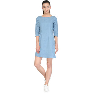 Tunic Nation Blue Soild Denim Dress