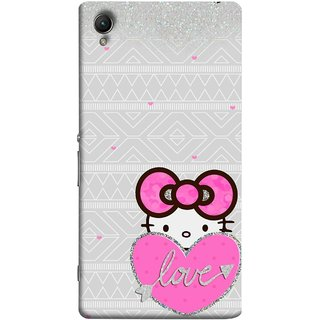 FUSON Designer Back Case Cover For Sony Xperia Z5 Premium :: Sony Xperia Z5 4K Premium Dual (Silver Background Pink Red Love Bird Lovers Couples )