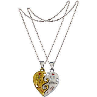 Men Style Personalized Engraved Best Friends Forever Gift For Best Friend Gold and Silver Zinc Alloy Heart Pendant For Men And Women