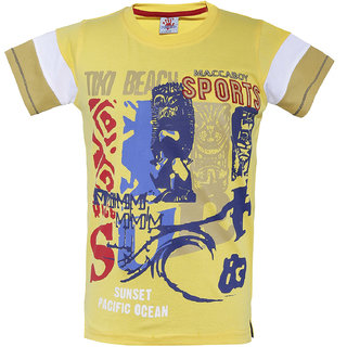 Punkster 100 Cotton Yellow Round Neck Tshirt For Boys-TS3467B-6