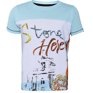 019654ee Buy Punkster 100 Cotton Light Blue Round Neck Tshirt For Boys-TS3487A-6  Online - Get 40% Off