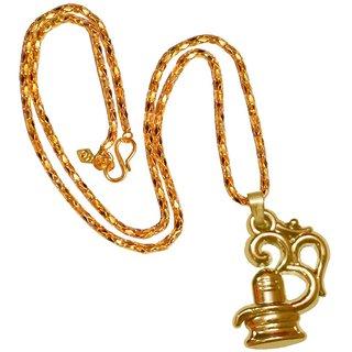 Men Style Shankar Om Trishul Shiv Ling Gold Alloy  Pendant For Men And Women