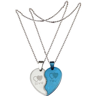Men Style New Jewelry For Friendship Gift (2 pieces - his and her) Silver and Blue Stainless Steel Heart Pendant