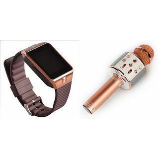 Mirza DZ09 Smart Watch and WS 858 Microphone Karrokke Bluetooth Speaker for MOTOROLA moto x style(DZ09 Smart Watch With 4G Sim Card, Memory Card| WS 858 Microphone Karrokke Bluetooth Speaker)
