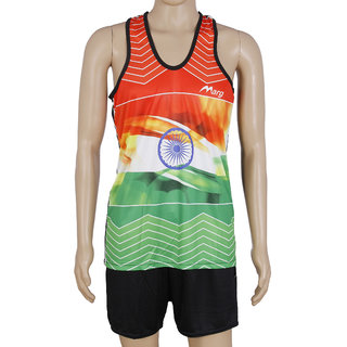 RetailWorld Flag Print Atheletic Wear Kit (Sando + Shorts)