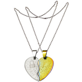 Men Style New Couple Lovers For Friendship Gift (2 pieces - his and her) Gold and Silver Stainless Steel Heart Pendant