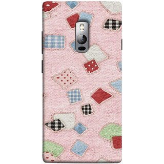 FUSON Designer Back Case Cover for OnePlus 2 :: OnePlus Two :: One Plus 2 (Baby Pink Lot Colours Squares Patch Tiles )