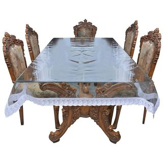 BcH Centre Table Cover With Silver Lace (4 SEATERTransparent )