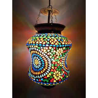 Susajjit Elegent Colorful Big Chandelier Ceiling Lamp adorned with handcrafted glass beads work beautiful Glass Lantern Decoratibe Hanging Lamp