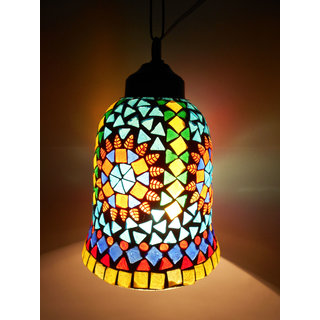 Susajjit Splendid Flower Design Hanging Lamp adorned with Beautiful glass work attractive Glass Lantern showpiece for Home Decoration