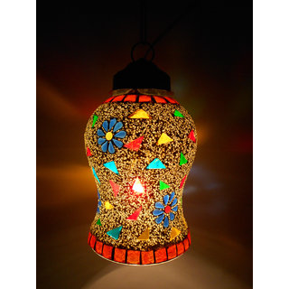 Susajjit Decorative Aesthetic Design RoofCeiling Lamp with Mosaic work colrful Hanging Lantern for Home Decoration
