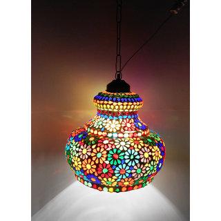 Susajjit Big Size Flower Design Decorative Ceiling Lamp Artistic handmade Glass Roof Hanging lantern Showpiece for Living Room Decoration