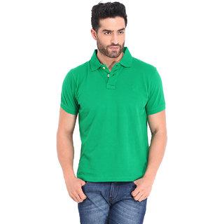 Ketex Green Plain Polo Collar T-Shirts For Men